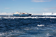 Antarctic passenger cruise ship off the icy shores of Antarctica (Ocean Diamond Quark Expeditions)