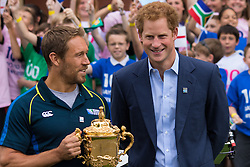 , June 10th 2015. HRH Prince Harry was joined by England rugby legends Jonny Wilkinson and Will Greenwood to launch the tour around the UK of the Webb Ellis Cup and to mark the occasion of 100 days to go before the tournament begins.  The trophy will be driven in a specially configured Land Rover Defender and chauffeured by various rugby luminaries, starting with Will Greenwood.