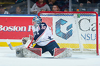 KELOWNA, CANADA - OCTOBER 27: Patrick Dea #30 of the Tri-City Americans makes a second period save against the Kelowna Rockets on October 27, 2017 at Prospera Place in Kelowna, British Columbia, Canada.  (Photo by Marissa Baecker/Shoot the Breeze)  *** Local Caption ***