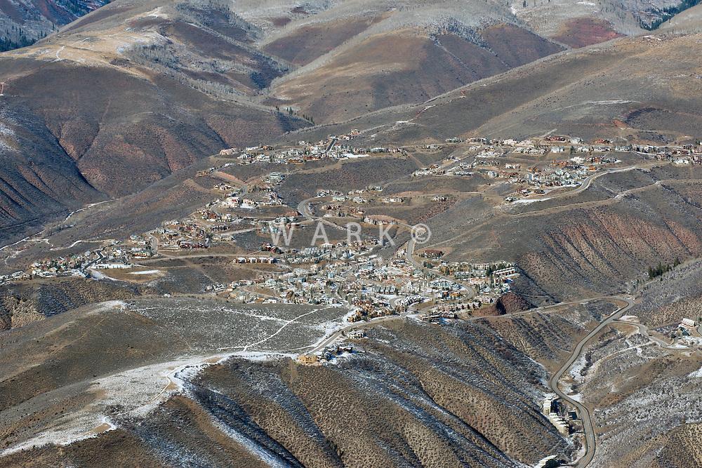 Aerial of Avon, Colorado.  Eagle, Colorado. Nov 2012