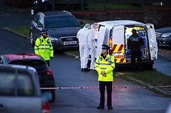 ©Licensed to London News Pictures 22/12/2019. <br /> Crawley Down ,UK. Police forensic officers on  scene. Two people are dead and a third is fighting for life after a knife attack on a housing estate in Crawley Down, West Sussex Photo credit: Grant Falvey/LNP