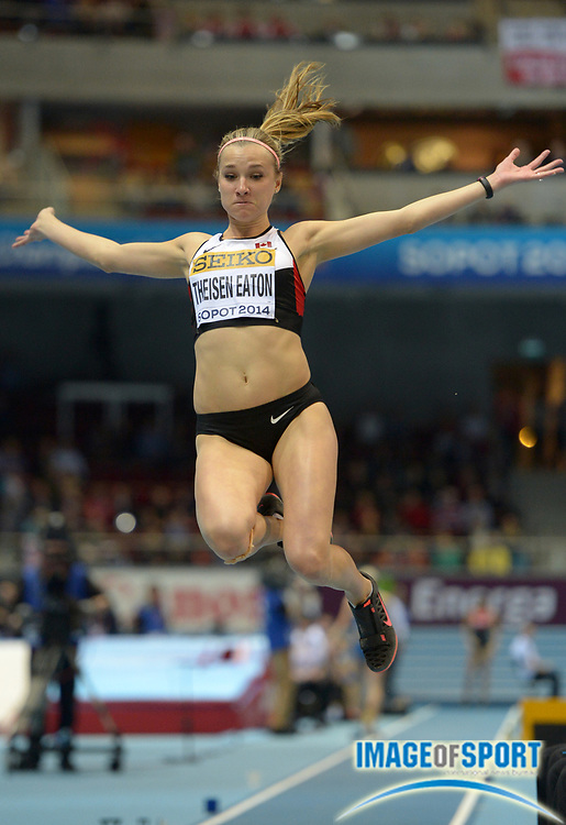 Mar 7, 2014; Sopot, Poland; Brianne Theisen-Eaton (CAN) jumps 20-1 1/2 (6.13m) in the pentathlon long jump in the IAAF World Indoor Championships in Athletics at Ergo Arena. Theisen-Eaton finished second in a Canadian national record 4,763 points.