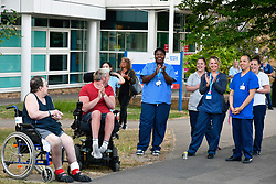 Nurses & patients at Thursday 8pm clap for carers during Coronavirus lockdown, Royal Berkshire Hospital, UK May 2020