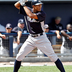 March 21, 2012; Port Charlotte, FL, USA; New York Yankees left fielder Justin Maxwell (64) against the Tampa Bay Rays during a spring training game at Charlotte Sports Park.  Mandatory Credit: Derick E. Hingle-US PRESSWIRE