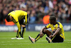Odion Ighalo and Jose Manuel Jurado of Watford look dejected after losing in the FA Cup Semi-Final to Crystal Palace - Mandatory by-line: Robbie Stephenson/JMP - 24/04/2016 - FOOTBALL - Wembley Stadium - London, England - Crystal Palace v Watford - The Emirates FA Cup Semi-Final