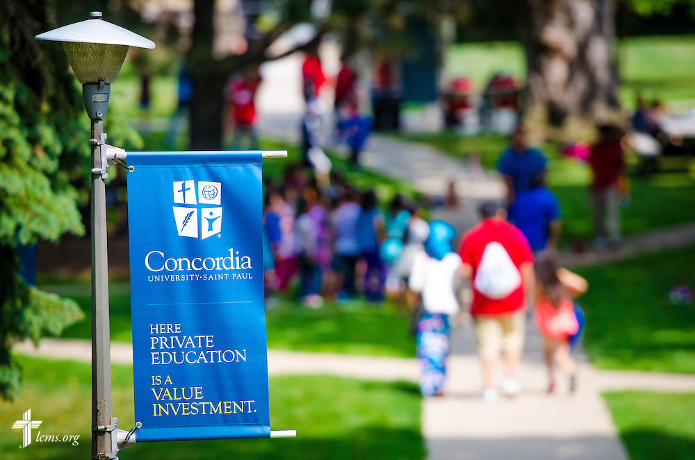 A banner frames a busy campus at Concordia University, Saint Paul, on Wednesday, August 6, 2014, in St. Paul, Minn.   LCMS Communications/Erik M. Lunsford