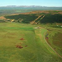 Húsabakki séð til austurs, Skriðusel eyðibýli í hlíðinni.  Þingeyjarsveit áður Aðaldælahreppur  /  Husabakki viewing east,  Skridusel former farm in the slope in background.Thingeyjarsveit former Adaldaelahreppur.