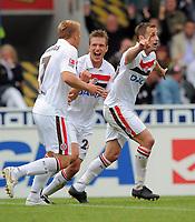 Fotball<br /> Tyskland<br /> 13.09.2009<br /> Foto: Witters/Digitalsport<br /> NORWAY ONLY<br /> <br /> Jubel 2:3 v.l. Rouwen Hennings, Carsten Rothenbach, Torschuetze Matthias Lehmann (Pauli)<br /> 2. Bundesliga FSV Frankfurt - FC St. Pauli 2:3