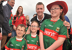 Cillian O'Connor celebrates with young Mayo Fans in Hyde Park after Mayo's Connacht Final win over Sligo on sunday.<br /> Pic Conor McKeown
