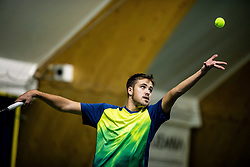 Aljaz Jakob Kaplja playing final match during Slovenian men's doubles tennis Championship 2019, on December 29, 2019 in Medvode, Slovenia. Photo by Vid Ponikvar/ Sportida