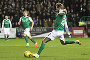 22 Hibernian Midfielder Andrew Shinnie hitting the rebound during the Scottish Cup fifth round replay match between Hibernian and Heart of Midlothian at Easter Road, Edinburgh, Scotland on 22 February 2017. Photo by Craig McAllister.