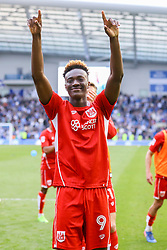 Tammy Abraham of Bristol City celebrates their win over Brighton & Hove Albion, 1-0 and are now confirmed as staying up - Mandatory by-line: Jason Brown/JMP - 29/04/2017 - FOOTBALL - Amex Stadium - Brighton, England - Brighton and Hove Albion v Bristol City - Sky Bet Championship