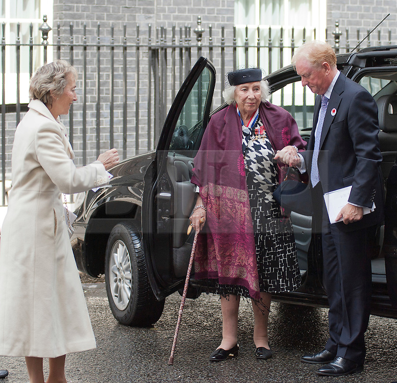© Licensed to London News Pictures. LONDON, UK  10/06/11. Dame Vera Lynn DBE arrives at Number 10 Downing Street to attend a party celebrating the Royal British Legion's 90th Birthday. Prime Minister David Cameron today hosted a party at 10 Downing Street for the Armed Forces to celebrate the Royal British Legion's 90th anniversary and in support of the charity's Battle Back Centre for the recovery of service personnel.  Please see special instructions for usage rates. Photo credit should read Matt Cetti-Roberts/LNP