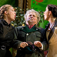 Picture shows : Kate Valentine (white dress) as Karolina and Jane Irwin (black dress) as Ane?ka, with Nicholas Folwell as Mumlal...Picture  ©  Drew Farrell Tel : 07721 ?735041.THE TWO WIDOWS by  Smetana.A SCOTTISH OPERA AND EDINBURGH INTERNATIONAL FESTIVAL CO-PRODUCTION.Premiering at the Edinburgh International Festival, this brand new production stars Scottish soprano Kate Valentine and internationally renowned mezzo Jane Irwin..The directorial partnership between Tobias Hoheisel and Imogen Kogge transforms this delicate comedy into something that digs deeper without losing its inherent charm. Francesco Corti conducts this, his first production as Music Director of Scottish Opera...Kate Valentine as Karolina Záleská.Jane Irwin as Ane?ka Miletinská?Nicholas Folwell as Mumlal?David Pomeroy as Ladislav Podhajsky?Ben Johnson as Toník, a peasant?Rebecca Ryan as Lidka, a maid.?Conductor..Francesco Corti.Directors ..         Tobias Hoheisel & Imogen Kogge.Designer..         Tobias Hoheisel.Lighting..         Peter Mumford.Choreographer  .Kally Lloyd-Jones.Dramaturg..Micaela von Marcard..Performances :.Edinburgh Festival Theatre?9 ? 11 ? 12  August?Theatre Royal, Glasgow?10 ?  14 ? 17 ? October?Note to Editors:  This image is free to be used editorially in the promotion of Scottish Opera and The Edinburgh International Festival. Without prejudice ALL other licences without prior consent will be deemed a breach of copyright under the 1988. Copyright Design and Patents Act  and will be subject to payment or legal action, where appropriate..Further further information please contact Kerryn Hurley Scottish Opera Press Manager t:   0141 242 0511. Or contact The Edinburgh International Festival Press Office  +44 (0)131 473 2020.
