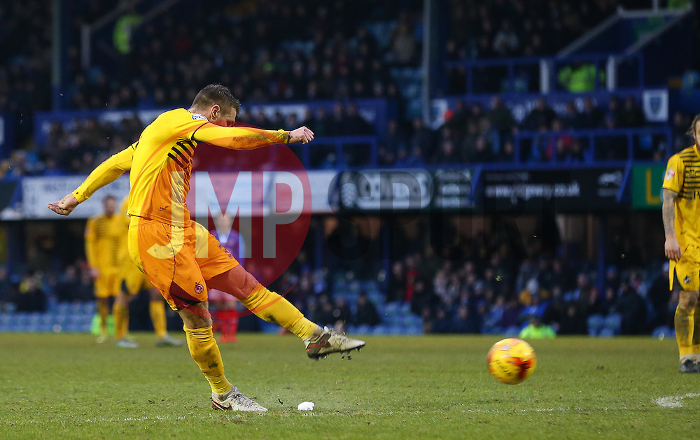 Lee Brown of Bristol Rovers scores from a free kick to make it 3-1 - Mandatory byline: Paul Terry/JMP - 13/02/2016 - FOOTBALL - Fratton Park - Portsmouth, England - Portsmouth v Bristol Rovers - Sky Bet League Two