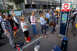 © Licensed to London News Pictures. 09/07/2015. London, UK. Commuters queuing  for Boris bikes outside Waterloo Station as tube strike shuts down the entire London Underground network on Thursday, July 9, 2015. The strike called by RMT, TSSA and Unite unions is a 27-hour stoppage by about 20,000 Tube staff and shuts down the entire London Underground network. Photo credit: Tolga Akmen/LNP