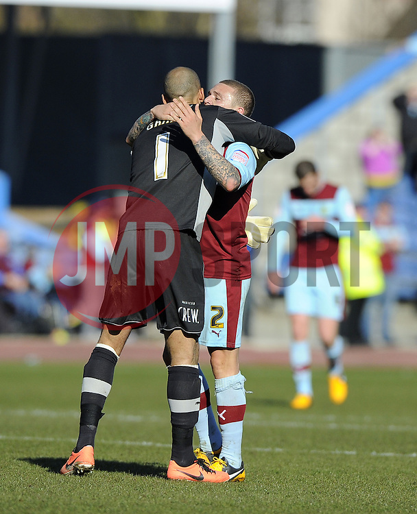 Burnley's Lee Grant celebrates with Burnley's Kieran Trippier - Photo mandatory by-line: Joe Meredith/JMP - Tel: Mobile: 07966 386802 06/04/2013 - SPORT - FOOTBALL - Turf Moor - Burnley - Burnley V Bristol City - Npower Championship