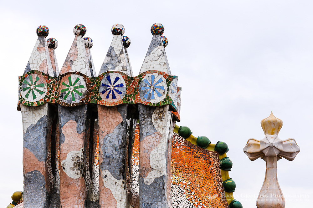 Spain, Barcelona. Casa Batlló is one of Antoni Gaudí's masterpieces. The roof, chimney details