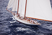 Elena sailing in the Butterfly Race at the 2011 Antigua Classic Yacht Regatta.