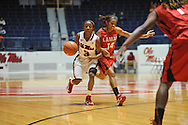 """Ole Miss' Valencia McFarland (3) vs. Lamar's Carenn Baylor (14) in women's college basketball at the C.M. """"Tad"""" Smith Coliseum in Oxford, Miss. on Monday, November 19, 2012.  Lamar won 85-71."""