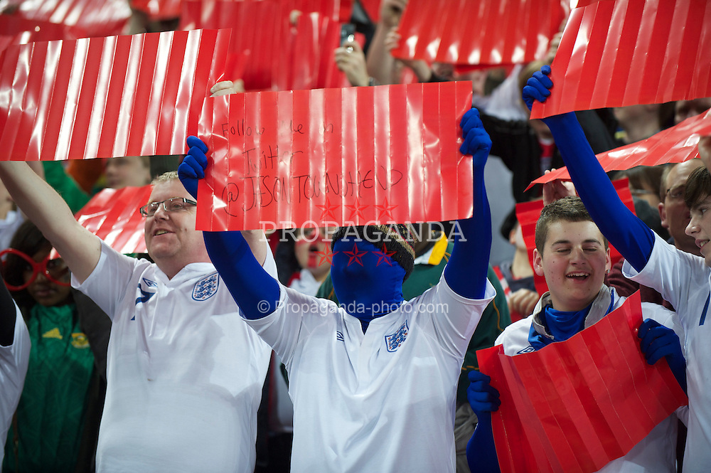 LONDON, ENGLAND - Tuesday, March 29, 2011: An England supporter promotes his twitter account against Ghana during the international friendly match at Wembley Stadium. (Photo by David Rawcliffe/Propaganda)