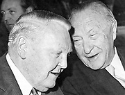 Ludwig Erhard (1897-1977), economist and politician, left, with Konrad Adenauer (1876-1967), statesman, at Bad Godesberg, 25 October 1960.