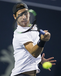 TORONTO, Aug. 12, 2018  Karen Khachanov of Russia returns the ball against Rafael Nadal of Spain during the semifinal match of men's singles at the 2018 Rogers Cup in Toronto, Canada, Aug. 11, 2018. Karen Khachanov of Russia lost 0-2. (Credit Image: © Xinhua via ZUMA Wire)