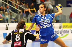 08.10.2011, BSFZ Suedstadt, Maria Enzersdorf, AUT, EHF Champions League, Hypo Niederoesterreich vs Randers HK, im Bild Martina Goricanec, (Hypo Niederoesterreich, #8) and Camilla Dalby, (Randers HK, #20) , EXPA Pictures © 2011, PhotoCredit: EXPA/ T. Haumer