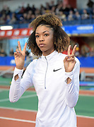 Feb 9, 2019; New York, NY, USA; Vashti Cunningham acknowledges the crowd  during the 112th Millrose Games at The Armory. Cunningham won the women's high jump at 6-4 3/4 (1.95m).