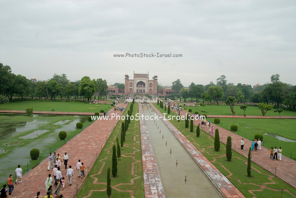 India, Uttar Pradesh, Agra, The Taj Mahal landmark The mosque on the west
