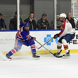 BUFFALO, NY - SEP 20,  2017: Ontario Junior Hockey League Governors Showcase game between the Toronto Jr. Canadiens and Wellington Dukes, Matthew O'Brian #16 of the Toronto Jr. Canadiens battles for the puck with Nick Durajlija #9 of the Wellington Dukes during the third period.<br /> (Photo by Andy Corneau / OJHL Images)