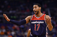 Apr 1, 2016; Phoenix, AZ, USA; Washington Wizards guard Garrett Temple (17) reacts on the court in the first half of the game against the Phoenix Suns at Talking Stick Resort Arena. Mandatory Credit: Jennifer Stewart-USA TODAY Sports
