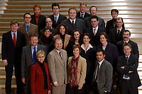 19 FEB 2003, BERLIN/GERMANY:<br /> Obere Reihe, v.L.n.R.: Gabriele Frechen, Sascha Raabe, unbekannte Person, 2. Reihe, v.L.n.R.: Soeren Bartol, Michael Hartmann, Ulrich Kelber, Karsten Schoenfeld, Gesine Multhaupt, 3. Reihe, v.L.n.R.: Siegmund Ehrmann, Ute Berg, Sabine Baetzing,  Carole Reimann, Hubertus Heil, Andreas Weigel, 4. Reihe, v.L.n.R.: Martin Doermann, Christian Lange, Nina Hauer, Kerstin Giese, Anton Schaaf, Untere Reihe, v.L.n.R.: Andrea Wicklein, Caren Marks, Sebastian Edathy, Hans-Peter Bartels, Mitglieder des Netzwerk Berlin, Gruppe junger SPD Abgeordneter des Deutschen Bundestages<br /> IMAGE: 20030219-03-008<br /> KEYWORDS: MdB´s, Youngster