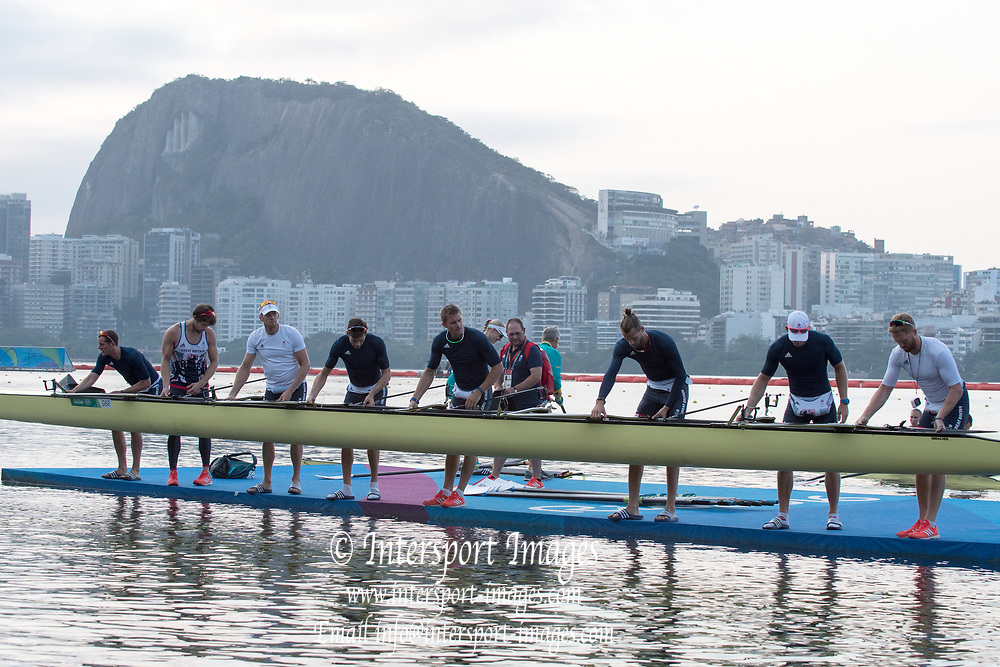 Rio de Janeiro. BRAZIL  GBR M8+, boating for training session. ,  Boating  General view of the boat park.  2016 Olympic Rowing Regatta. Lagoa Stadium,<br /> Copacabana,  &ldquo;Olympic Summer Games&rdquo;<br /> Rodrigo de Freitas Lagoon, Lagoa. Local Time 07:01:51  Tuesday  09/08/2016<br /> [Mandatory Credit; Peter SPURRIER/Intersport Images]