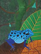 Mike Harridge. Denrobates Caulscens<br /> 17&quot; x 22&quot;<br /> Acrylic on canvas.<br /> Bought by Posingis. 30,000/-
