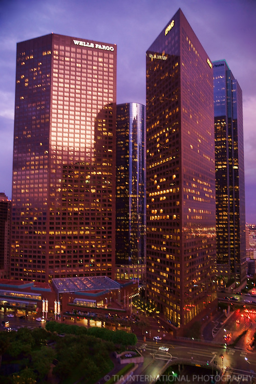 Downtown Skyscrapers after Thunderstorm.  Los Angeles, California.