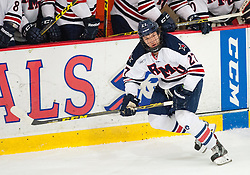 March 11 2016: Robert Morris Colonials forward Zac Lynch (27) skates during the first period in game one of the Atlantic Hockey quarterfinals series between the Bentley Falcons and the Robert Morris Colonials at the 84 Lumber Arena in Neville Island, Pennsylvania (Photo by Justin Berl)