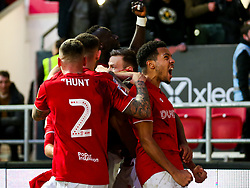 Korey Smith celebrates after Niclas Eliasson of Bristol City celebrates scoring a goal to make it 1-0 - Rogan/JMP - 18/01/2020 - Ashton Gate Stadium - Bristol, England - Bristol City v Barnsley - Sky Bet Championship.