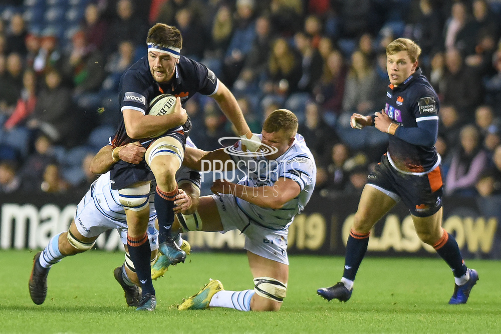 Ally Miller on the break during the Guinness Pro 14 2018_19 match between Edinburgh Rugby and Cardiff Blues at Murrayfield Stadium, Edinburgh, Scotland on 23 February 2019.