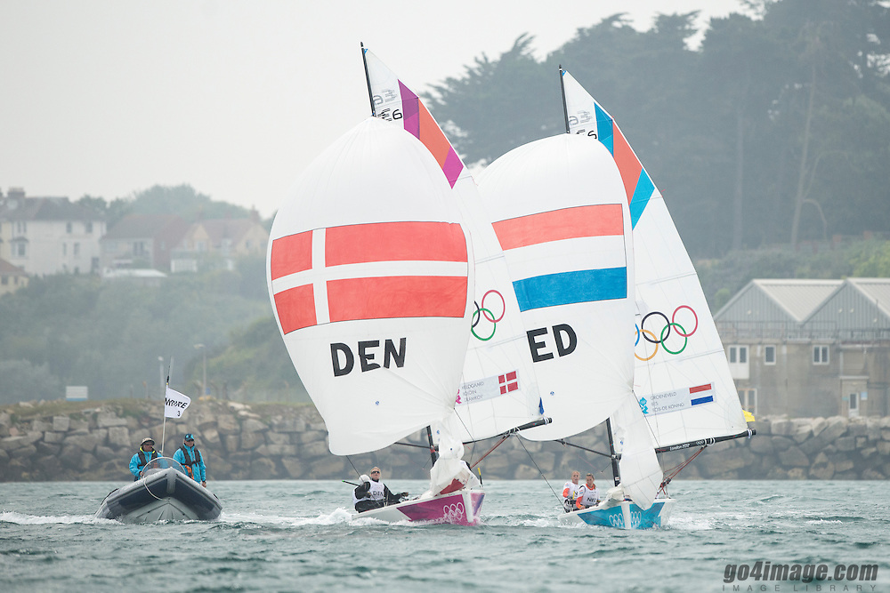 2012 Olympic Games London / Weymouth<br /> Matchrace day 3 round robin<br /> Match RaceDENMeldgaard Pedersen Lotte, Boidin Susanne, Schmidt Tina<br /> Match RaceNEDBes Annemieke, Groeneveld Renee, Bos-De Koning Marcelien
