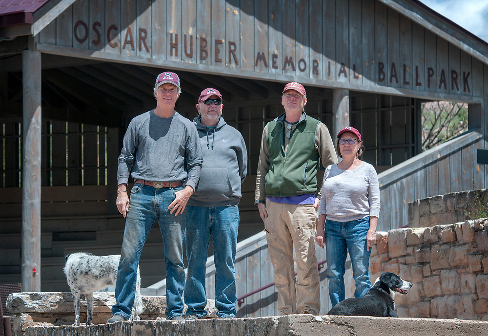 em051917k/jnorth/From left, Michael Wright, Dale MCDonnell, Clayton Bain and Ellen Dietrich have been working to restore the Oscar Huber Memorial Ballpark in Madrid. Photo shot Friday May 19, 2017. (Eddie Moore/Albuquerque Journal