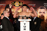 March 8, 2019; Verona, NY, USA; WBA light heavyweight champion Dmitry Bivol steps on the scale to weigh in for his bout at the Turning Stone Resort and Casino in Verona, NY.  Mandatory Credit: Ed Mulholland/Matchroom Boxing USA