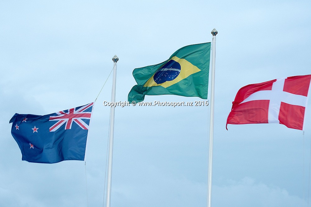Flags for: New Zealand's Alexandra Maloney<br /> and Molly Meech Silver (L), Brazil&rsquo;s Martine Grael and Kahena Kunze Gold (C and Denmark's Jena Hansen and  Katja Salskov-Iversen Bronze during the Women's 49fx class sailing race medal ceremony at the 2016 Rio Olympics on Thursday the 18th of August 2016. &copy; Copyright Photo by Marty Melville / www.Photosport.nz