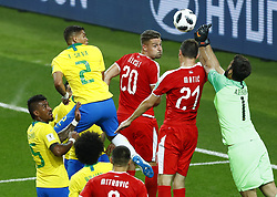 June 27, 2018 - Moscow, Russia - Group E Serbia v Brazil - FIFA World Cup Russia 2018.Silva Thiago (Brazil) score the goal of 0-2 at Spartak Stadium in Moscow, Russia on June 27, 2018. (Credit Image: © Matteo Ciambelli/NurPhoto via ZUMA Press)