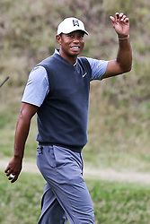 March 29, 2019 - Austin, Texas, U.S. - Tiger Woods waves to the crowd on the 16th hole after winning his match during the third round of the 2019 WGC-Dell Technologies Match Play at Austin Country Club. (Credit Image: © Debby Wong/ZUMA Wire)