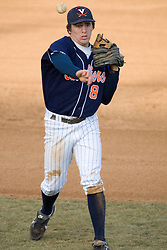 Virginia Cavaliers infielder Patrick Wingfield (8) throws to first base.  The Virginia Cavaliers Baseball Team defeated the George Washington University Colonials 15-2 to complete a sweep of the three game series on February 19, 2007 at Davenport Field, Charlottesville, VA.