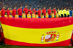 Players of Spain  during the 2010 FIFA World Cup South Africa Group H Second Round match between Spain and Honduras on June 21, 2010 at Ellis Park Stadium, Johannesburg, South Africa.   (Photo by Vid Ponikvar / Sportida)