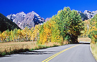 Road leading to Maroon Bells of the Elk Mountains.  Colorado.