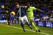 Huddersfield Town midfielder Mustapha Carayol and Birmingham City defender Jonathan Grounds battle during the Sky Bet Championship match between Birmingham City and Huddersfield Town at St Andrews, Birmingham, England on 5 December 2015. Photo by Alan Franklin.