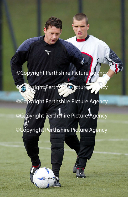 St Johnstone training..04.10.02<br />Two number 1's but will Alan Main make his comeback against Clyde tommorrow<br />see story by Gordon Bannerman Tel: 01738 553978<br /><br />Picture by Graeme Hart.<br />Copyright Perthshire Picture Agency<br />Tel: 01738 623350  Mobile: 07990 594431
